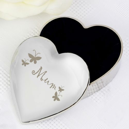 Mum Butterflies  Design Silver Heart Shape Trinket Box Gift For Mum